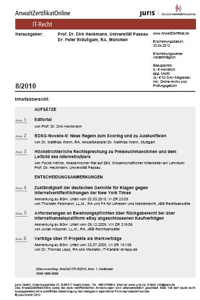 AZO IT-Recht 08/2010